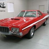 1972 ford ranchero gt 2 dr in bright red finish w white stripes wht int