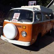 35794121f3 1975 Orange White Volkswagon Type II 4 speed camper bus in very good  condition.