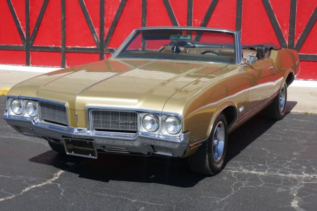 1970 Gold Oldsmobile Cutlass Convertible with Gold interior