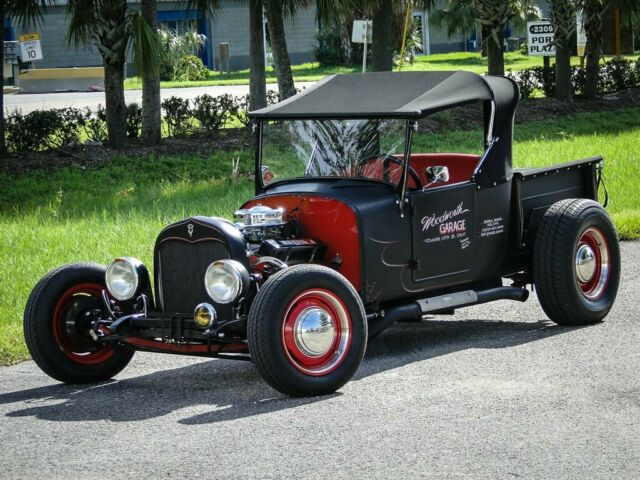 1926 Black Ford T-Bucket Pickup Convertible with Red interior