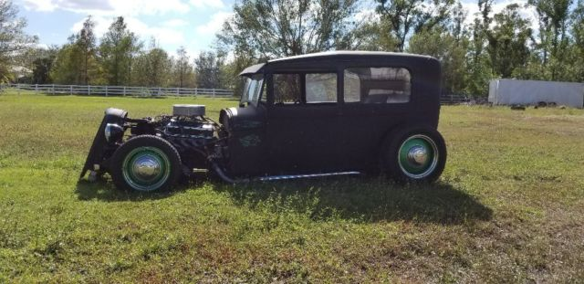 1928 Flat Black Ford Model A Tudor Sedan with Black interior