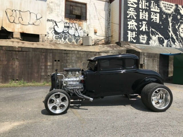 1930 Black Ford Custom Coupe with Black interior