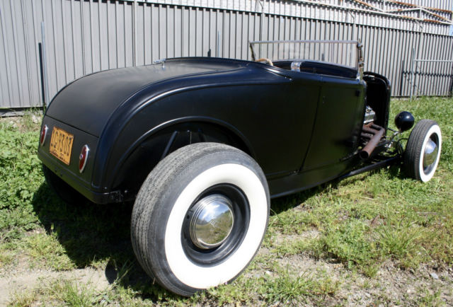 1930 Black Ford Model A Roadster, Henry Ford Steel, 1932 Ford Frame Roadster with Black interior