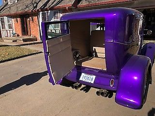 1930 Purple Ford Model A Delivery Sedan Delivery with light tan interior