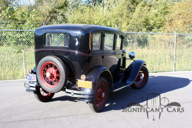 1931 Black Ford Model A Sedan with Gray interior