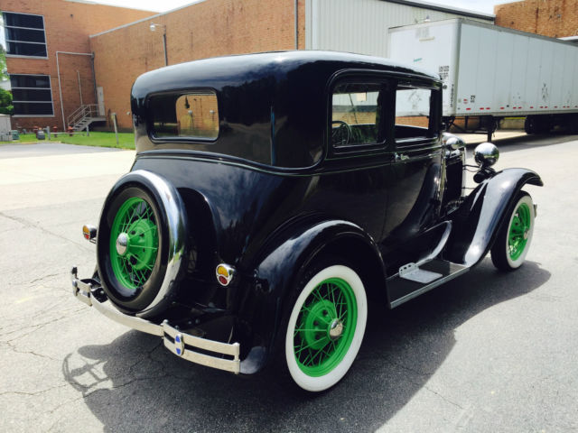 1931 Black Ford Model A Coupe with Tan interior