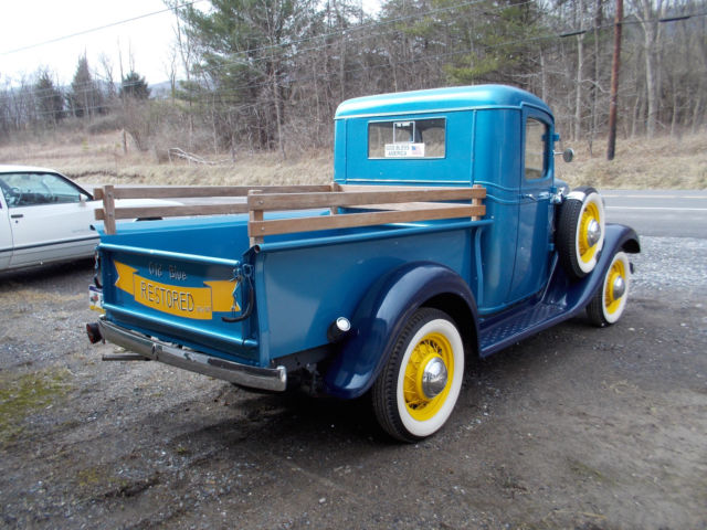 1933 Chevrolet Pickup Truck Blue Good Tires Wood Bed Floor