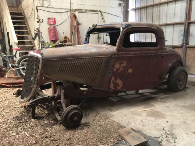 1934 ford 3 window coupe roller w 3 flatheads henry steel for 1934 ford 3 window coupe project for sale