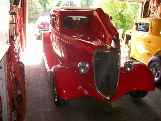 1934 Red Ford 5 Window Coupe Coupe with Red interior