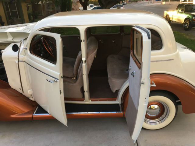 1935 Pearl White / Dark Burnt Orange Dodge Other with Faux Painted Wood / Cream interior