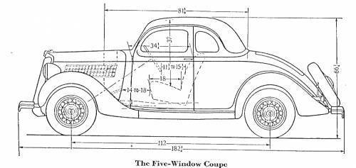 1935 Ford Five Window Coupe Original With Frame And