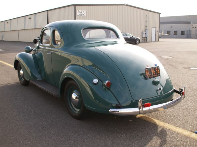 1937 Green Plymouth Businessman's Coupe Coupe with Tan interior