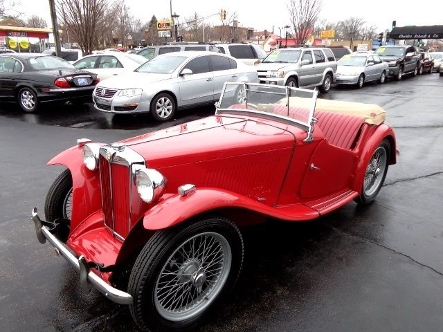 1949 Red MG T-Series Convertible with Red Leather interior