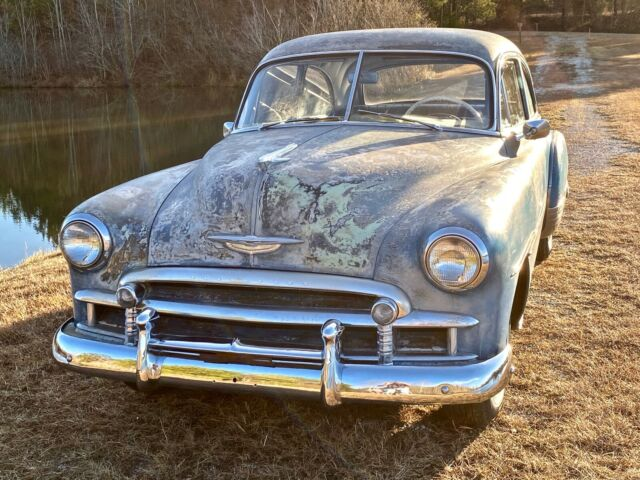 1950 Blue / Light Green / Primer / Natural Steel Chevrolet Deluxe 2-Door Sedan Coupe with Blue interior