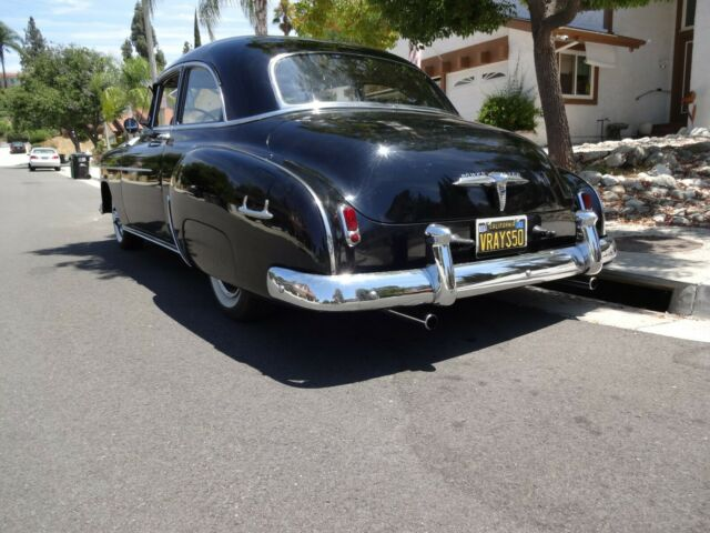1950 Black Chevrolet Styleline Deluxe Coupe with Gray interior