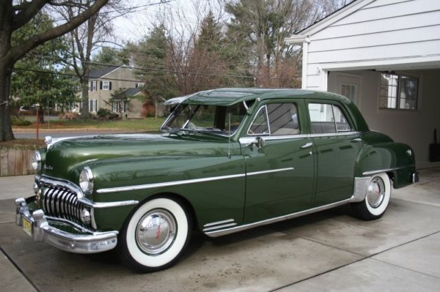 1950 desoto 4 door custom fluid drive green white wall tires radio for sale photos technical. Black Bedroom Furniture Sets. Home Design Ideas