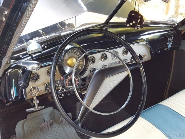 1951 Black Ford Custom Sedan with White interior