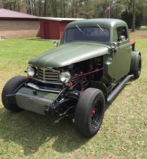 Small Ford Truck: 1951 Ford Rat Rod Pick Up Truck Flat Green 327 Small
