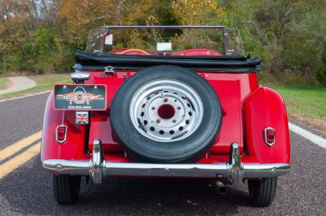 1952 Red MG T-Series Roadster Convertible with Red interior