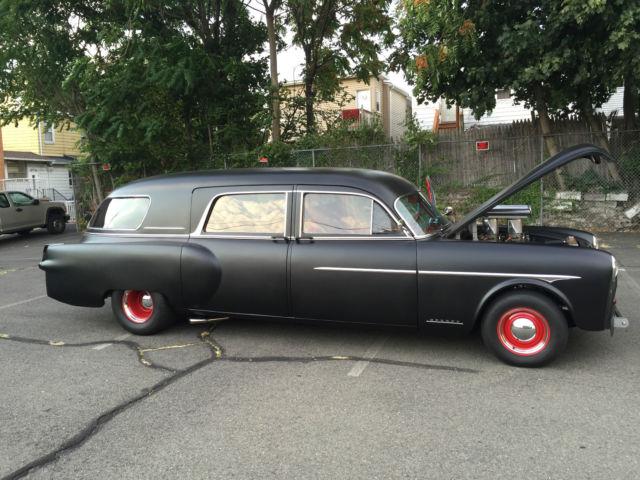 1952 packard henney pro street hearse satin black exterior red black interior for sale photos. Black Bedroom Furniture Sets. Home Design Ideas
