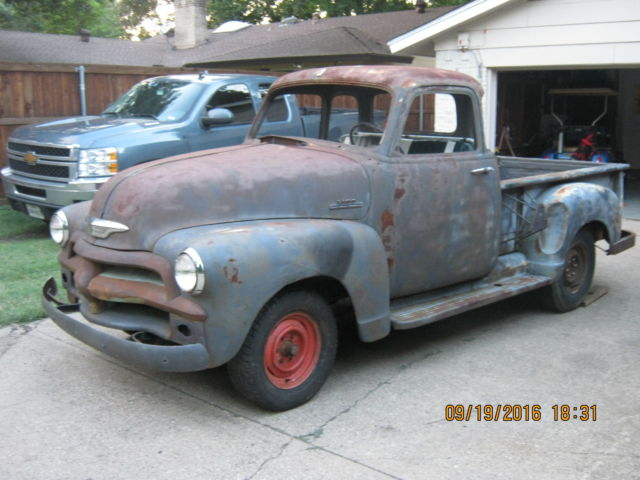 1954 chevy 5 window truck 3100 w hydromatic rare no reserve barn find shop truck for sale. Black Bedroom Furniture Sets. Home Design Ideas