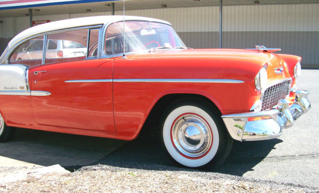 1955 Gypsy Red / Shoreline Beige Chevrolet Bel Air/150/210 Coupe with same interior