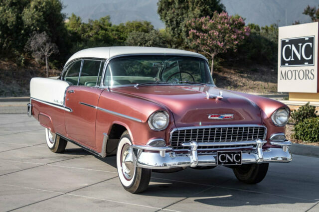 1955 Dusk Rose/India Ivory Chevrolet Bel Air/150/210 3 Year Restoration Just Completed Coupe with Ivory/Gray interior