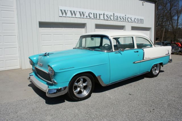 1955 Blue Chevrolet Bel Air/150/210 210 Sedan with Blue interior