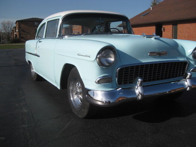 1955 Skyline Blue Chevrolet Bel Air/150/210 210 Delray Coupe with Blue / Green interior