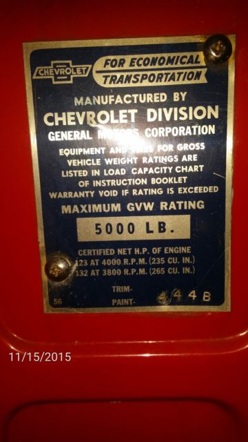 1955 Red Chevrolet Other Pickups 3100 step side with Tan interior