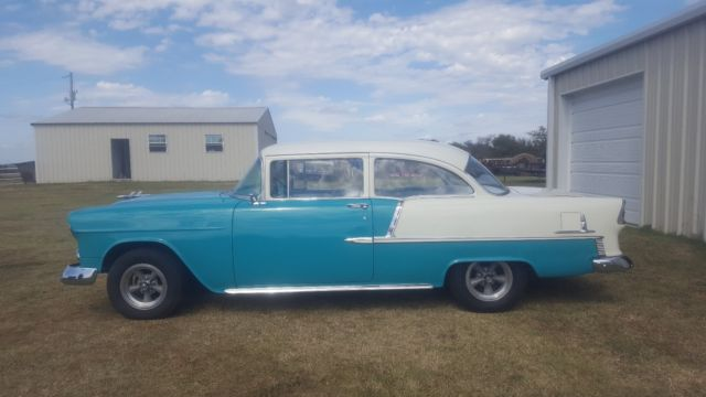 1955 chevy belair 150 210 2 door post turquois and white for 1955 chevy belair 2 door post