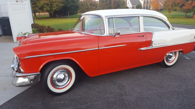 1955 Red/white Chevrolet Bel Air/150/210 210 Sedan with White/gray interior