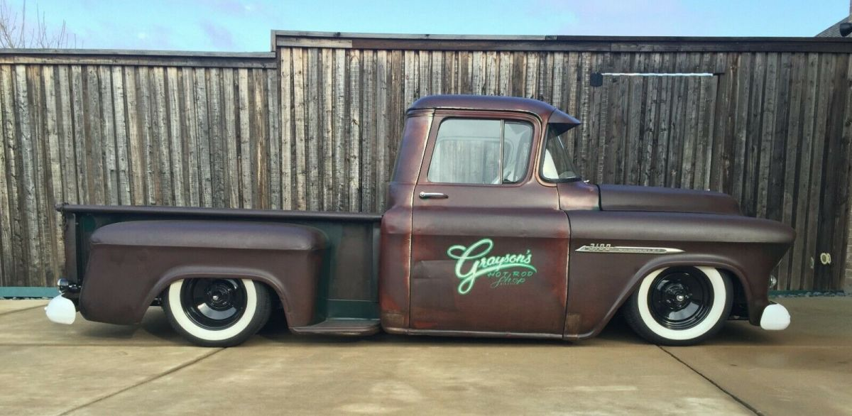 1955 Chevy Hot Rod Truck Air Ride Bagged Patina Lowered Slammed For Sale Photos Technical Specifications Description
