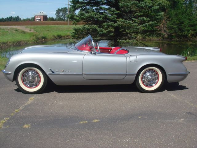 1955 Corvette Chev V8 Glide Silver Body Red Interior Black Convertible