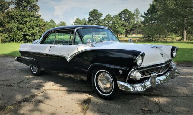 1955 Black Ford Fairlane Sedan with Black interior