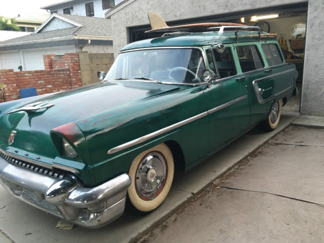 1955 mercury wagon, patina green, roof rack, rare find for