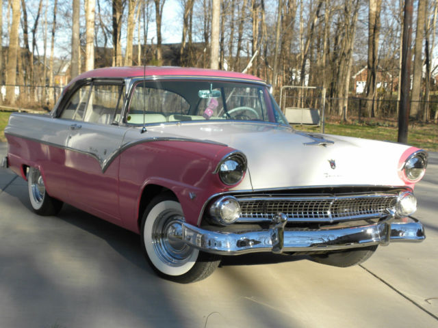 1955 Pink And White Ford Fairlane Victoria