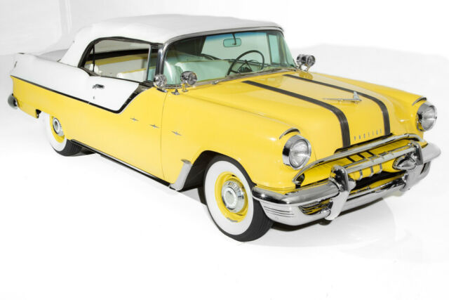 1955 White Pontiac Laurentian Convertible with White interior