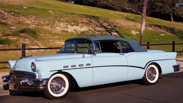 1956 CAMBRIDGE BLUE Buick Roadmaster Convertible Convertible with TWO TONE MEDIUM & LIGHT BLUE interior