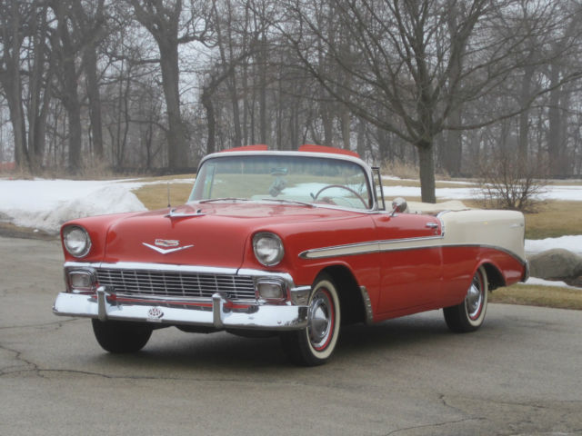1956 chevrolet bel air convertible two tone matador red adobe beige 265 v 8 for sale photos. Black Bedroom Furniture Sets. Home Design Ideas