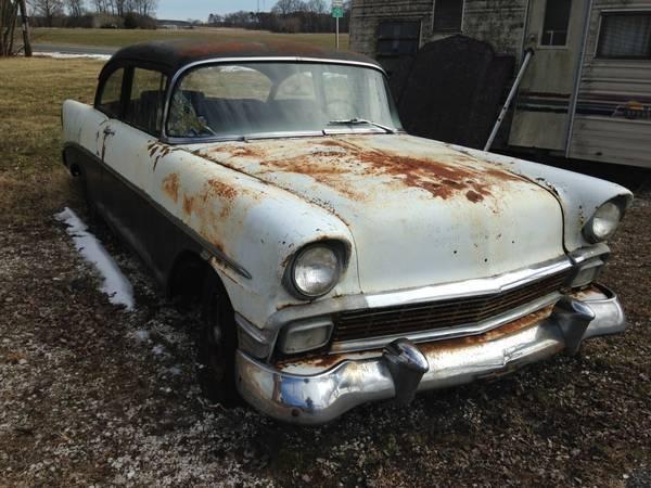 1956 Chevy 2 Door Post Complete Car Need Full Restoration