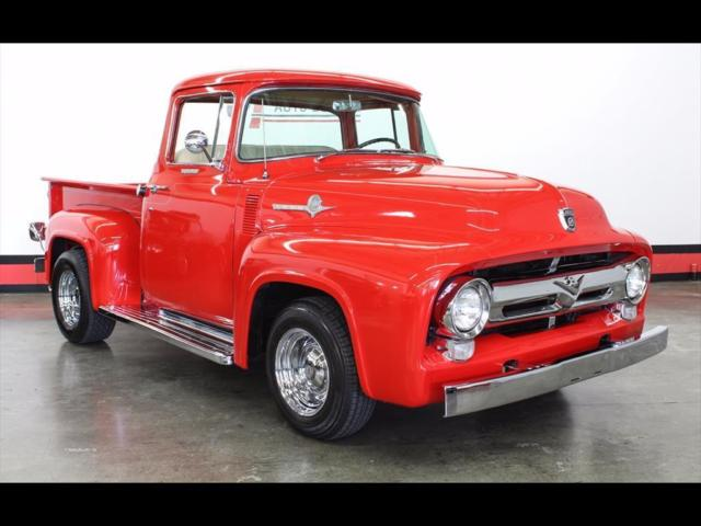 1956 Red Ford F-100 Custom Cab Truck with Tan interior