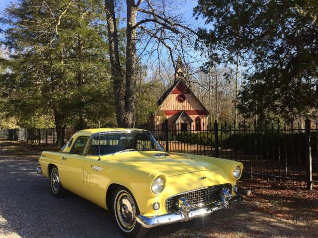 1956 Golden Glow Yellow Ford Thunderbird with White and Black interior