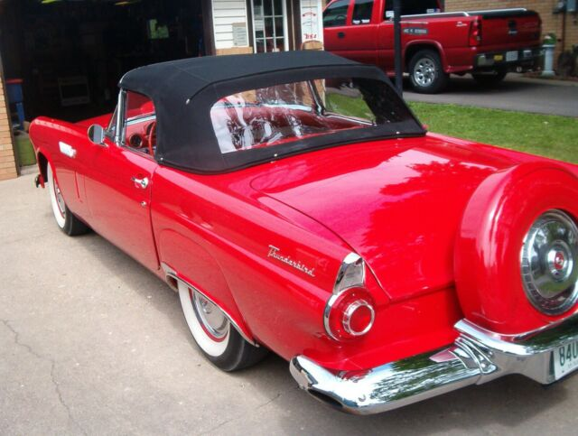 1956 Red Ford Thunderbird Convertible with Red/white interior