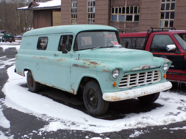 1956 original chevy 1 ton panel van truck runs great 2nd owner 4 speed 6 cyl for sale. Black Bedroom Furniture Sets. Home Design Ideas