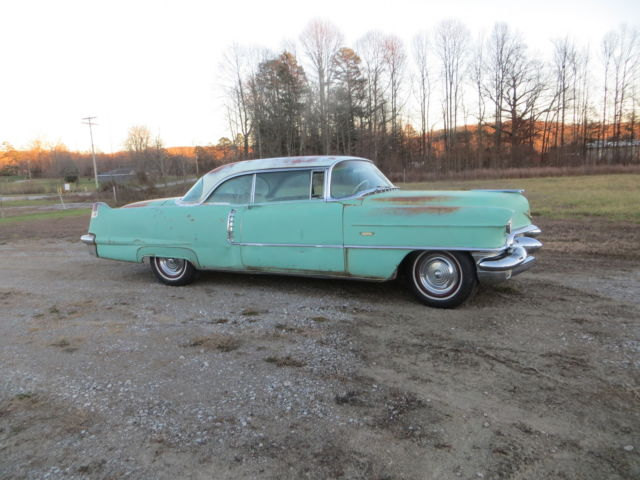 1956 Green Cadillac DeVille Series 62  Coupe with White Multi interior