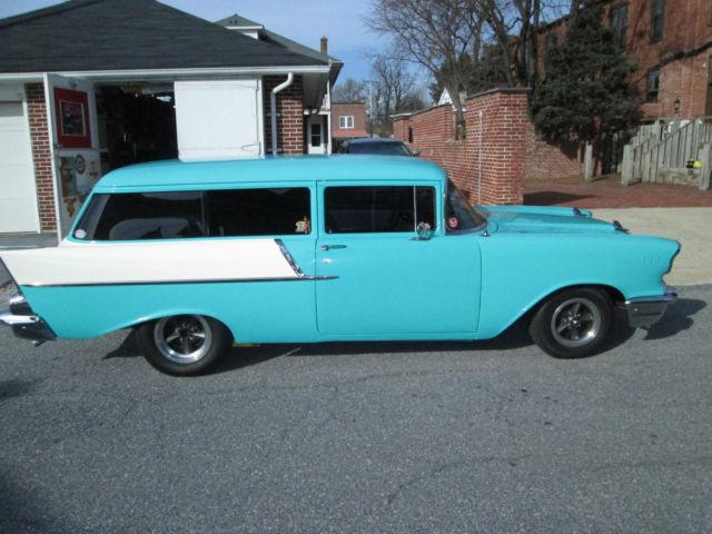 1957 Chevrolet 150 2dr Wagon 283 Auto Turquoise White