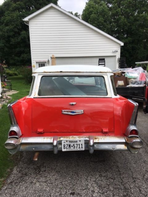 1957 Red Chevrolet Bel Air/150/210 Station wagon with Tan interior
