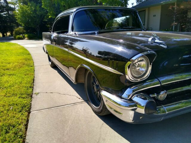 1957 Black Chevrolet Bel Air/150/210 Coupe with Black interior