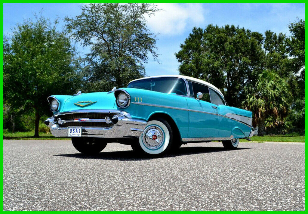 1957 Chevrolet Bel Air/150/210 Two tone Indian Ivory & Tropical Turquoise